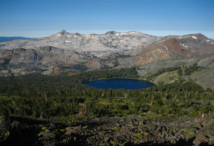 View from the summit of Mount Tallac: Gilmore Lake, Pyramid Peak, Mount Agassiz and Mount Price