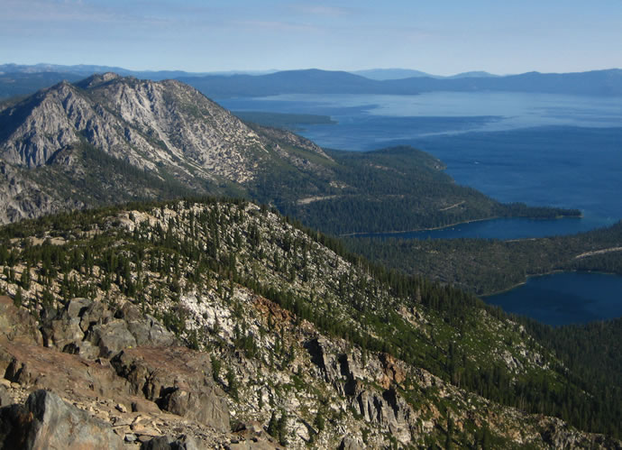 View from the summit of Mount Tallac: Jakes Peak, Emerald Bay, Cascade Lake and Lake Tahoe